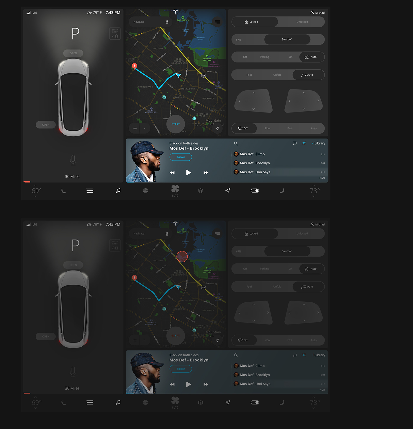 项目: Tesla Model 3 | User Interface 作者: Michael Cherkashin