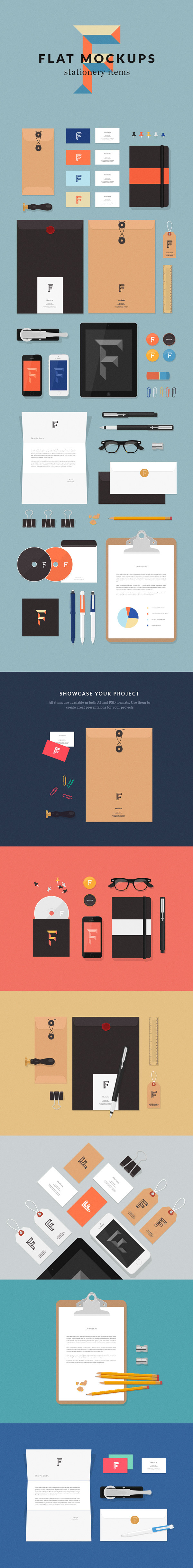 Flat MockUps �C Stationery Items